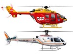 Westpac Rescue Helicopter and Solid Energy Rescue Helicopter Illustrations.