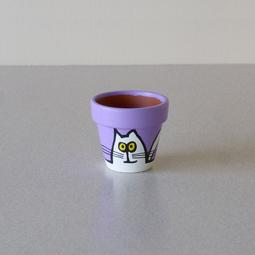 Purple Mini Pot - Small White Cats