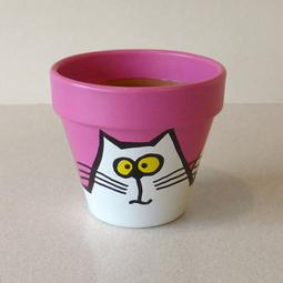 Pink Maxi Pot - Small White Cats
