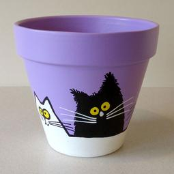 Purple Maxi Pot - Large Black and White Cats