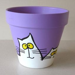 Purple Maxi Pot - Large White Cats