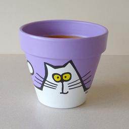 Purple Maxi Pot - Medium White Cats