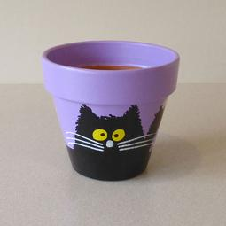 Purple Maxi Pot - Small Black Scruffy Cats