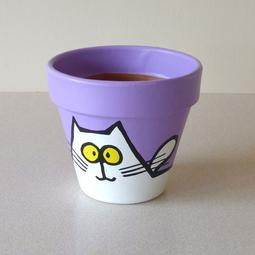 Purple Maxi Pot - Small White Cats