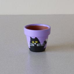 Purple Mini Pot - Medium Black Scruffy Cats