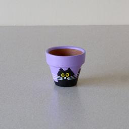Purple Mini Pot - Small Black Scruffy Cats