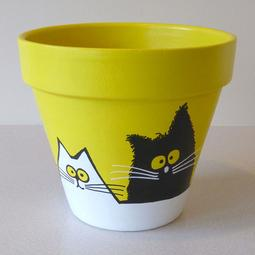 Yellow Maxi Pot - Large Black and White Cats