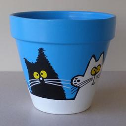 Blue Maxi Pot - Large Black and White Cats
