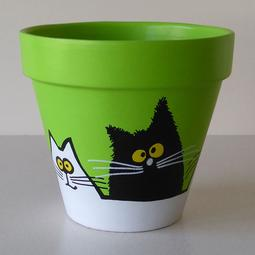 Green Maxi Pot - Large Black and White Cats